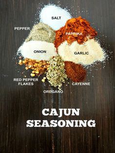 DIY Cajun Seasoning: Add some Cajun flare to your dishes with this perfect blend of spices. DIY Cajun Seasoning: Add some Cajun flare to your dishes with this perfect blend of spices. Homemade Cajun Seasoning, Homemade Spices, Homemade Seasonings, Seasoning Mixes, Creole Seasoning, Jambalaya Seasoning Recipe, Salt Free Cajun Seasoning Recipe, Cajun Rub Recipe, Fajita Seasoning
