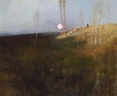 ''Moonlight Meadows,'' Frederick Judd Waugh, oil on canvas, 19 x private collection. A label on the reverse states ''I often get out one especial picture, painted by me in Grez-sur-Leon in France in it fills a need in my nature. - Frederick J. Fantasy Paintings, Seascape Paintings, Landscape Artwork, Abstract Landscape, Nocturne, Moonlight Painting, Landscape Photography Tips, Traditional Paintings, Painting Inspiration