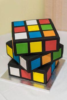 80s Rubik's Cube birthday cake