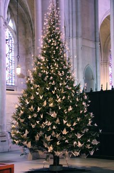 only white paper cranes on the Christmas tree, St. John the Divine Episcopal Church, NYC, Bumble Beans blog