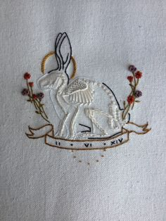 "copperbadge: ""xearthxcrisisx: ""siren-sound  "" That skeleton in the rabbit is AMAZING. And because it got lost somewhere in the rebagels: ""By Tinycup Needleworks, my favourite embroidery artist of all..."