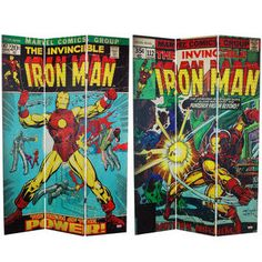 .http://www.overstock.com/Main-Street-Revolution/6-foot-Tall-Double-Sided-The-Invincible-Iron-Man-Canvas-Room-Divider/7509126/product.html?CID=214117 $163.00