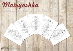 Matryoshka Coloring book Printable Russian by PapierBonbon