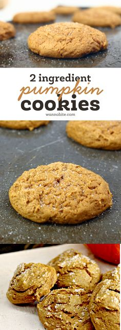 2-ingredient pumpkin cake cookies! Seriously these are so easy to make and so…
