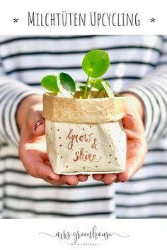 Milk carton upcycling – DIY for small plant pots on mrsgreenhouse.de – # milk carton recycling # plant pots - Do It Yourself Diy Hanging Shelves, Diy Wall Shelves, Floating Shelves Diy, Pot Mason Diy, Mason Jar Crafts, Mason Jars, Diy 2019, Diy Recycling, Small Potted Plants