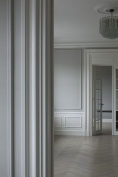 Like chandelier plus ceiling moulding around it plus coverall colours Space Copenhagen: Private Commission, Copenhagen Copenhagen Apartment, Space Copenhagen, Copenhagen Denmark, Interior Architecture, Interior And Exterior, Casa Milano, Wall Molding, Moulding, Style Deco