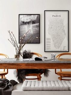 dining - black and white and wood - art on walls