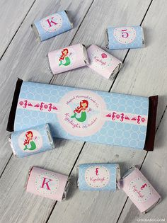 Mermaid theme printable Hershey labels from Chickabug - you can choose the mermaid's hair color and skin tone!