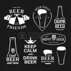 Cerveza relacionados con la tipografía. Vector ilustración de letras del vintage. elementos de diseño de la pizarra por un pub de la cerveza. publicidad de cerveza. Vectores