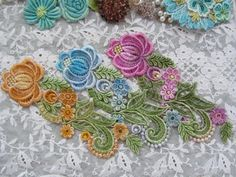 Flower Spray Hand Dyed Venise Lace Embellishment by RavioleeDreams, $6.00