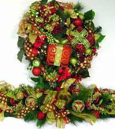 Christmas Present door Wreath XL Presents red & lime green prelit lights ...only one...matching mantel garland available design by Cabin Cove Creations  If sold stop by the cabin and check out my new designs!