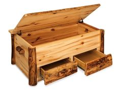 Amish Rustic Pine Log Hope Chest with Drawers Amish Log Furniture Collection This Rustic Log Hope Chest is handcrafted by skilled Amish wood workers from their wood shops right here in the United…More Woodworking Projects Diy, Popular Woodworking, Woodworking Jigs, Wood Projects, Woodworking Nightstand, Youtube Woodworking, Woodworking Magazine, Woodworking Supplies, Woodworking Furniture