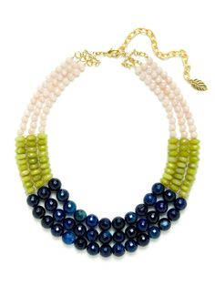Triple Strand Bead Bib Necklace by David Aubrey at Gilt