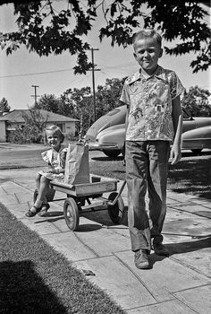 Returning from a trip to the store in 1952