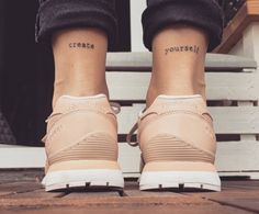 Little ankle matching tattoos saying Create...