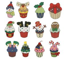 Cupcake Christmas Filled Machine Embroidery Designs   Designs by JuJu