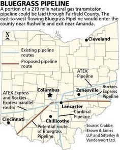 Proposed route of Bluegrass Pipeline through Ohio - It's coming....stop it now!