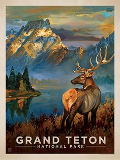 Grand Teton National Park: Morning Mist - Anderson Design Group has created an award-winning series of classic travel posters that celebrates the history and charm of America's greatest cities and national parks. Founder Joel Anderson directs a team of talented artists to keep the collection growing. This oil painting by Kai Carpenter celebrates the splendor of Grand Teton National Park.