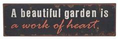 Ganz A Beautiful Garden is a Work of Heart Sign, Iron