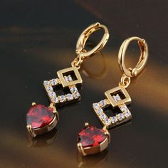 Fashion Red And White  Rhinestone Gold Filled Dangle Earrings