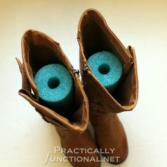 Use a pool noodle to keep your boots standing up in your closet!