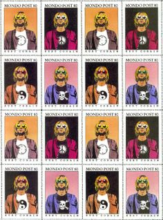 Oh well, whatever, nevermind.  Kurt Cobain Mondo Post 80 artistamps circa 1995 by Ed Varney :: via daddio