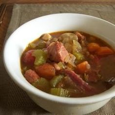 I make this hearty soup using the ham bone from our Easter spiral ham.  It makes a huge pot of soup, so invite some friends or just freeze several portions for later use.