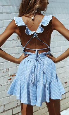In love with this cute blue mini dress