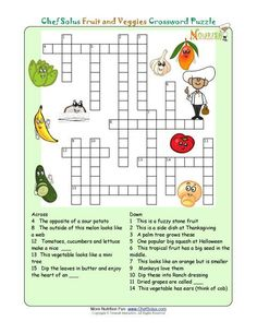 Printable crossword puzzles for kids from Nourish Interactive. Click to print this fun nutrition education food crossword puzzle. Kids food pyramid crosswords. Visit us for free online nutrition games, word puzzles, activities, and printables for kids! #Nutrition