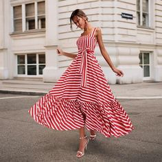 Boho Summer Beach Dress Women Spagetti Strap Red Striped Dress Plus Size Ruffle Long Maxi Dress Xxxl – Mode Outfits Sexy Maxi Dress, Sexy Dresses, Dress Skirt, Beautiful Dresses, Dress Outfits, Short Dresses, Fashion Dresses, Summer Dresses, Awesome Dresses