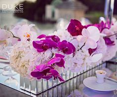 Mirrored rectangular troughs are packed with pink and white hydrangeas and orchids for a glamorous feel. All White Wedding, Wedding Of The Year, Purple Wedding, Floral Wedding, Wedding Colors, Diy Wedding, Wedding Flowers, Wedding Photos, Dream Wedding
