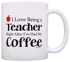 Teacher Appreciation Gift Love Being Teacher After Coffee Coworker Gift Coffee Mug Tea Cup White >>> Remarkable product available now. : Coffee Mugs