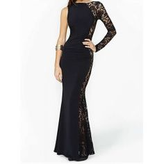 Sexy Round Neck Long Sleeve Lace Splicing Black Dress For Women