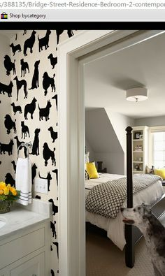 black, white and yellow decor, dog wallpaper