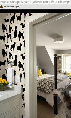 black, white and yellow decor, dog wallpaper
