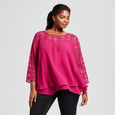 Women's Plus Size Lace Yoke Blouse Pink