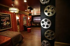 Home theater color scheme and decor.