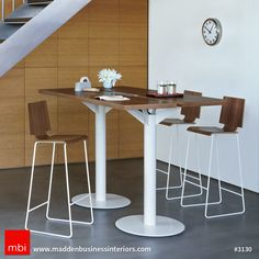 Arcadia Mid-Back Barstool, Wood Seat with Speakeasy Split Top Table www.mbilv.com #mbilv #interiordesign #stools #table