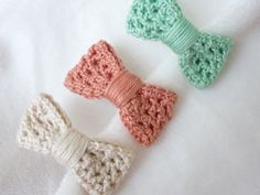 Set of three crochet hair pins by Pimentayflor on Etsy