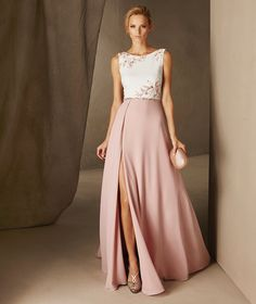 CAULA - Pronovias long dress with a bateau neckline