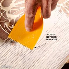 Spread Glue With a Notched Trowel . speed up your woodworking projects, improve the quality of glue connections & make your project look better with these tips for gluing . Woodworking Tools For Beginners, Woodworking For Kids, Woodworking Guide, Woodworking Techniques, Wood Working For Beginners, Woodworking Projects, Diy Projects, Woodworking Wood, Woodworking Classes