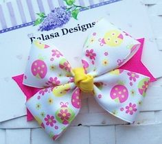 Boutique Spring Fling Ladybugs Hair Bow
