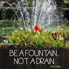 Be a Fountain...Not a Drain. Rex Hudler