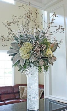 Heavenly Blooms: Merry Winter - Snowy White Winter Floral Arrangement in wood birch tall vase Silver Christmas Decorations, Christmas Flowers, Winter Flowers, Holiday Decor, Christmas Candles, Winter Flower Arrangements, Christmas Arrangements, Sunflower Arrangements, Artificial Floral Arrangements