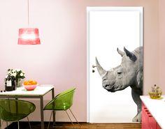 Zelfklevend Deurbehang Neushoorn (Rhino)