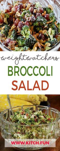 WEIGHT WATCHERS BROCCOLI SALAD Weight Watchers Spaghetti Recipe, Weight Watchers Salad, Weight Watchers Free, Spaghetti Recipes, Loose Weight Walking, Loose Weight Diet, Healthy Weight, Weight Gain, Weight Loss
