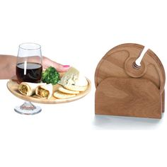 Set of 4 Wood Carved Cocktail Trays and Wine Holder Plates