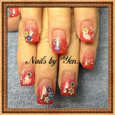 Strawberry color sparkle acrylic with fimo flower inlays #summer #spring #gradient #encapsulation #nail art #stamp #diamondj rhinestones ..thank you Mrs Zoe!