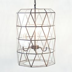 Moderna glass & brass lantern pendant light