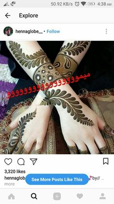 ❤💜💝Follow me on Instagram❣ @imkomal06 💙💚💛💟 Khafif Mehndi Design, Rose Mehndi Designs, Indian Mehndi Designs, Full Hand Mehndi Designs, Henna Art Designs, Modern Mehndi Designs, Mehndi Designs For Girls, Wedding Mehndi Designs, Beautiful Henna Designs